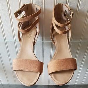 Franco Sarto camel / brown sandals wedge heel